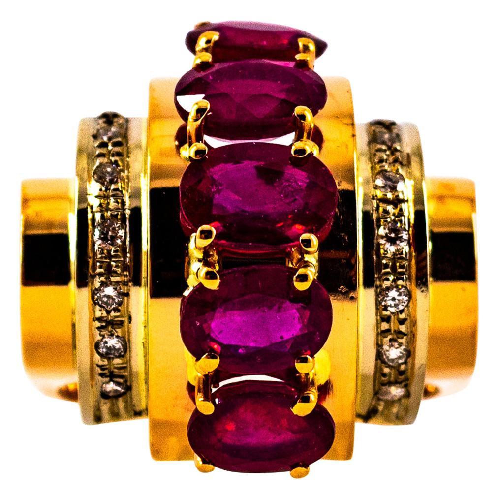 Art Deco Style 5.00 Carat Ruby 0.30 Carat White Diamond Yellow Gold Ring