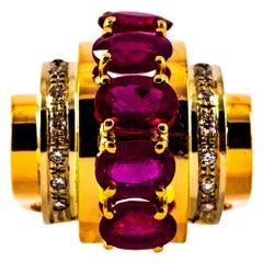 Art Deco 5.00 Carat Ruby 0.30 Carat White Diamond Yellow Gold Cocktail Ring