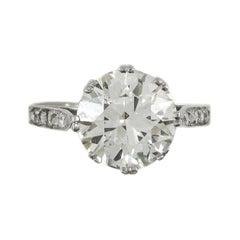 Art Deco 5.06 Carat Old European Cut Diamond Platinum Engagement Ring