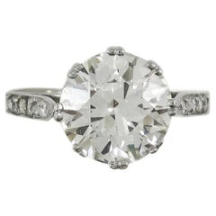 Art Deco 5.06 Carat Old European Cut Diamond Platinum Engagement Ring