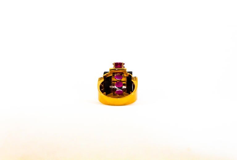 Art Deco Style 5.10 Carat Ruby 0.15 Carat Diamond Onyx Yellow Gold Cocktail Ring For Sale 7