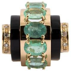 Art Deco 5.15 Carat White Diamond Emerald Onyx Yellow Gold Cocktail Ring