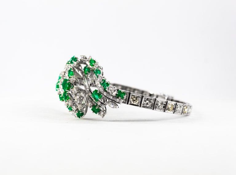5.20 Carat White Diamond 3.60 Carat Emerald White Gold Bracelet For Sale 6