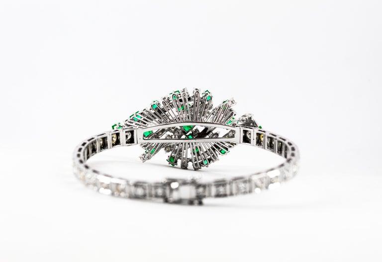 5.20 Carat White Diamond 3.60 Carat Emerald White Gold Bracelet For Sale 7