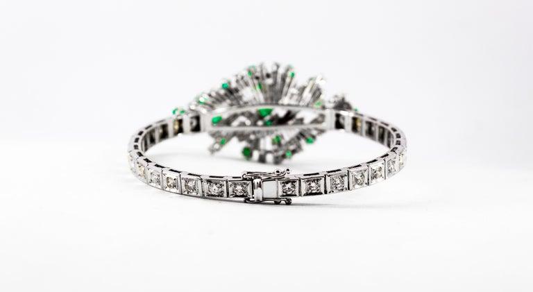 5.20 Carat White Diamond 3.60 Carat Emerald White Gold Bracelet For Sale 8