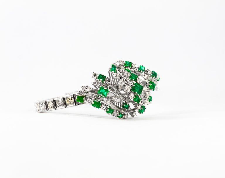 5.20 Carat White Diamond 3.60 Carat Emerald White Gold Bracelet For Sale 10