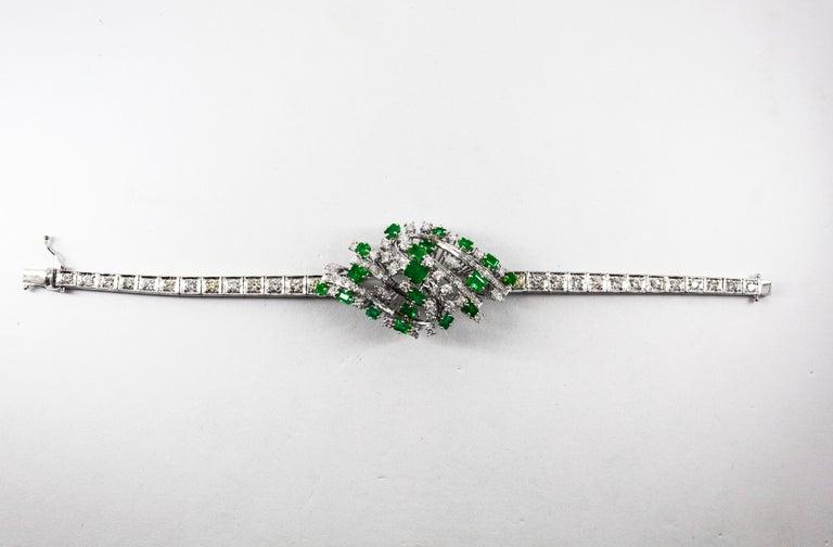 5.20 Carat White Diamond 3.60 Carat Emerald White Gold Bracelet For Sale 1