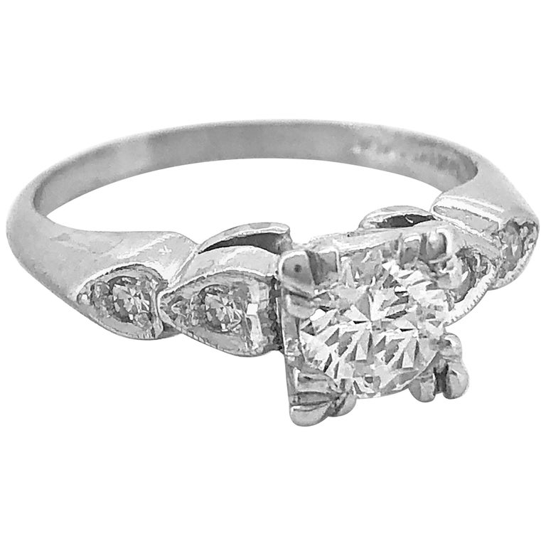 Antique Engagement Rings For Sale: Art Deco .55 Carat Diamond Antique Engagement Ring