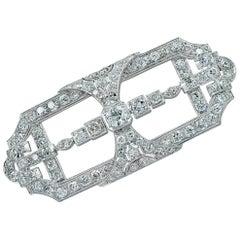 Art Deco 5.5 Carat Old European Cut Diamond Platinum Brooch Pin