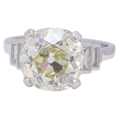 Art Deco 5.53 Carat Old European Cut Diamond Platinum Ring