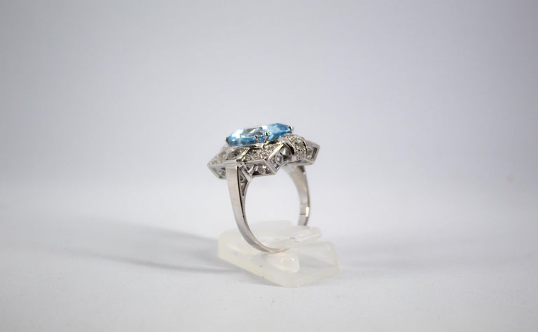 Art Deco 5.60 Carat Aquamarine 2.00 Carat White Diamond White Gold Cocktail Ring For Sale 5