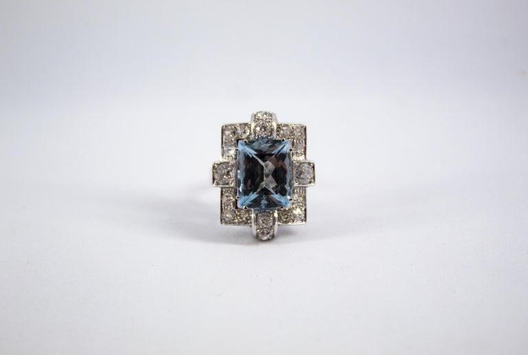 Art Deco 5.60 Carat Aquamarine 2.00 Carat White Diamond White Gold Cocktail Ring For Sale 7