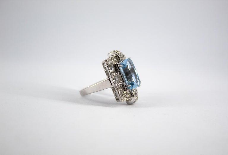 Art Deco 5.60 Carat Aquamarine 2.00 Carat White Diamond White Gold Cocktail Ring For Sale 8