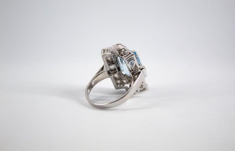 Art Deco 5.60 Carat Aquamarine 2.00 Carat White Diamond White Gold Cocktail Ring For Sale 9
