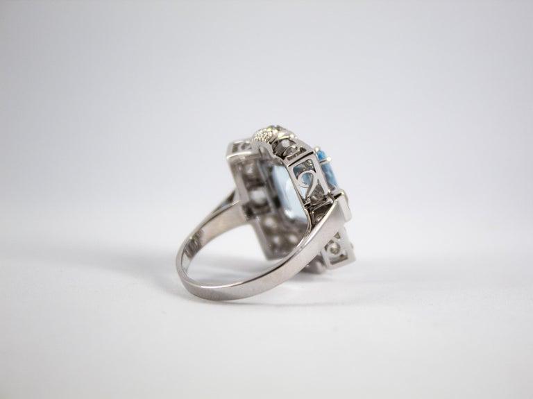 Art Deco 5.60 Carat Aquamarine 2.00 Carat White Diamond White Gold Cocktail Ring For Sale 10