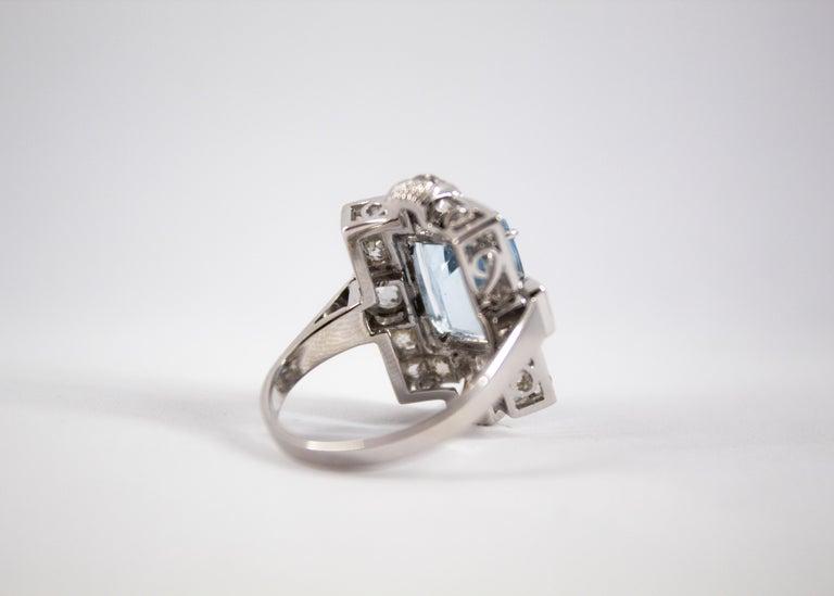 Art Deco 5.60 Carat Aquamarine 2.00 Carat White Diamond White Gold Cocktail Ring For Sale 11