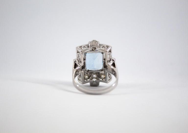 Art Deco 5.60 Carat Aquamarine 2.00 Carat White Diamond White Gold Cocktail Ring For Sale 12