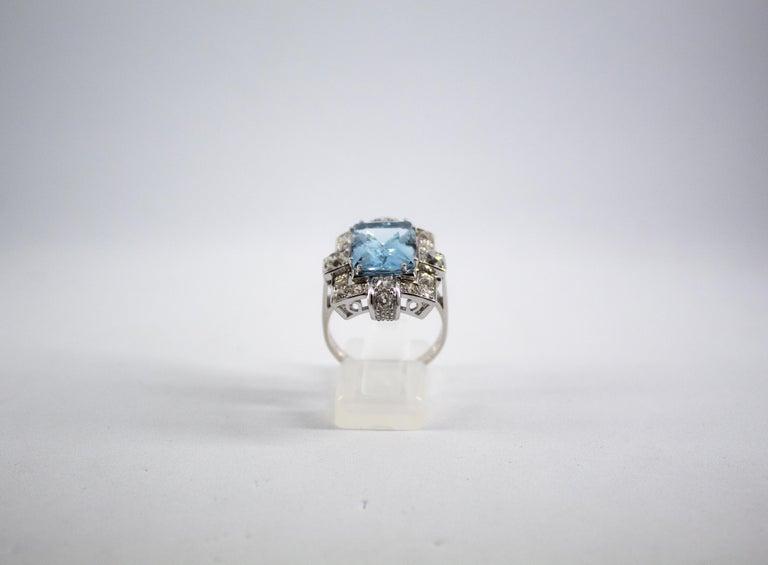 Renaissance Art Deco 5.60 Carat Aquamarine 2.00 Carat White Diamond White Gold Cocktail Ring For Sale