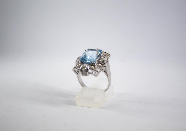 Women's or Men's Art Deco 5.60 Carat Aquamarine 2.00 Carat White Diamond White Gold Cocktail Ring For Sale