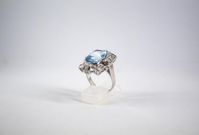Art Deco 5.60 Carat Aquamarine 2.00 Carat White Diamond White Gold Cocktail Ring For Sale 2