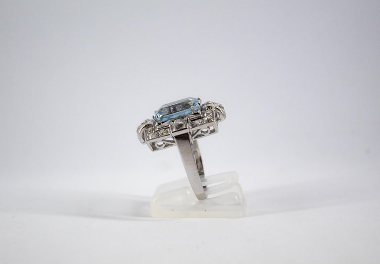 Art Deco 5.60 Carat Aquamarine 2.00 Carat White Diamond White Gold Cocktail Ring For Sale 3