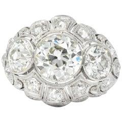 Art Deco 5.60 Carat Old European Diamond Platinum Alternative Engagement Ring