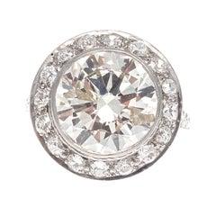 Art Deco 5.62 Carat Round Brilliant Cut Diamond Platinum Ring