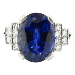 Art Deco 5.70 Carat Ceylon No Heat Sapphire Diamonds White Gold Platinum Ring