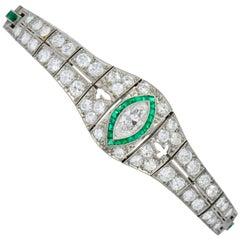 Art Deco 5.72 Carat Marquise Diamond Emerald Platinum Strap Bracelet