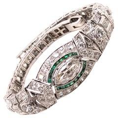 Art Deco 5.76 Carat Diamond and French Cut Emerald Bracelet