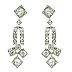 Art Deco 6 Carat Diamond Gold Drop Earrings