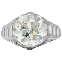 Art Deco 6.01 Carat Round Brilliant Diamond Platinum Engagement Ring GIA