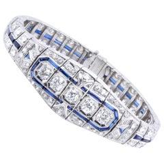 Art Deco 6.10 Carat Diamond Sapphire Platinum Bracelet