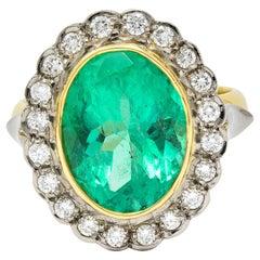 Art Deco 6.15 Carats Colombian Emerald Diamond 18 Karat Gold Cluster Ring GIA