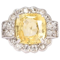 Art Deco 6.26 Carat Yellow Ceylon Sapphire Cocktail Ring