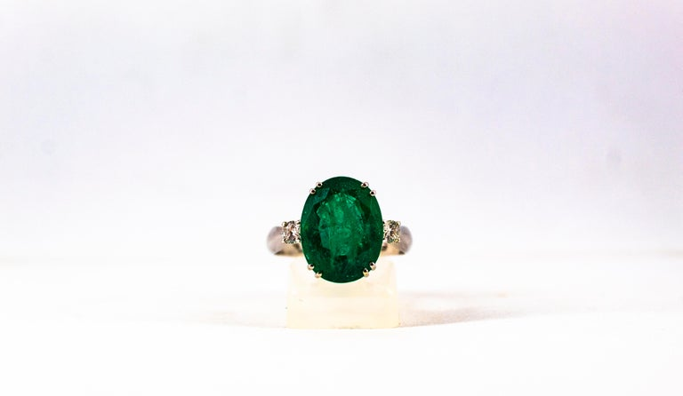 Art Deco Style 6.29 Carat Emerald 0.20 Carat Diamond White Gold Cocktail Ring For Sale 5