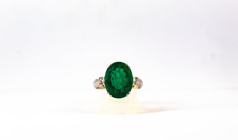 Art Deco Style 6.29 Carat Emerald 0.20 Carat Diamond White Gold Cocktail Ring For Sale 6