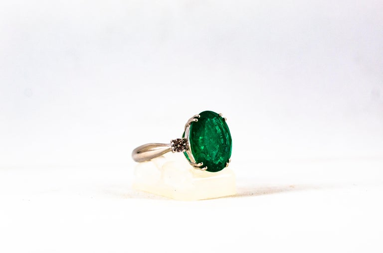 Art Deco Style 6.29 Carat Emerald 0.20 Carat Diamond White Gold Cocktail Ring For Sale 7