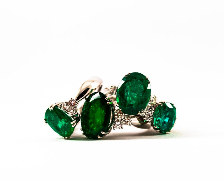 Art Deco Style 6.29 Carat Emerald 0.20 Carat Diamond White Gold Cocktail Ring For Sale 8