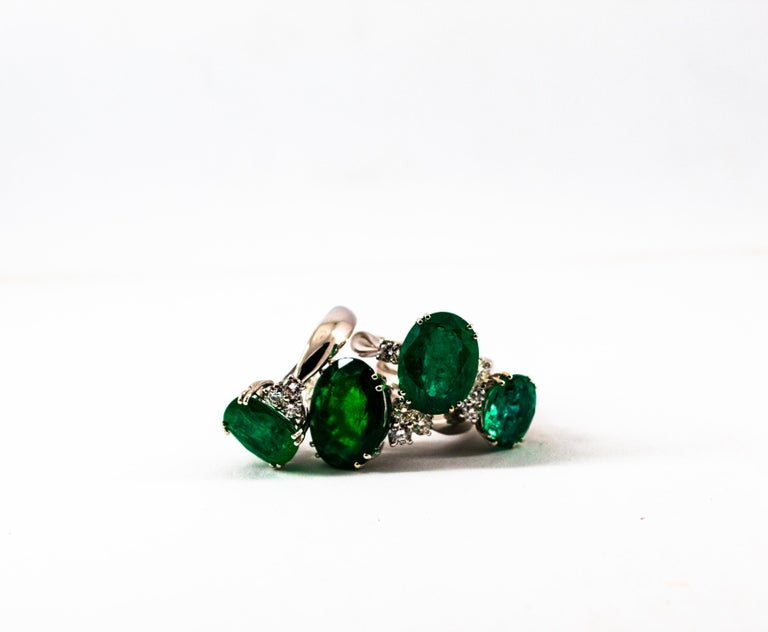 Art Deco Style 6.29 Carat Emerald 0.20 Carat Diamond White Gold Cocktail Ring For Sale 9