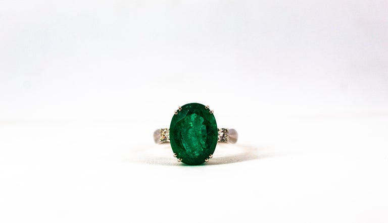 Art Deco Style 6.29 Carat Emerald 0.20 Carat Diamond White Gold Cocktail Ring For Sale 10