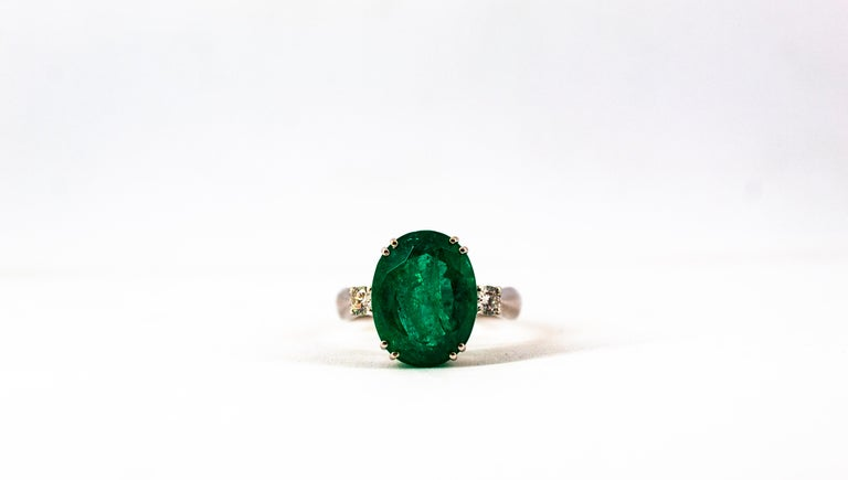 Art Deco Style 6.29 Carat Emerald 0.20 Carat Diamond White Gold Cocktail Ring For Sale 11