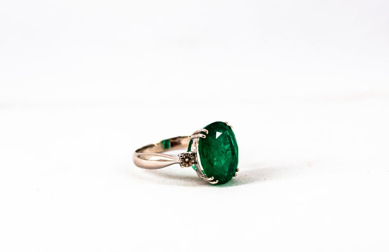 Art Deco Style 6.29 Carat Emerald 0.20 Carat Diamond White Gold Cocktail Ring For Sale 12