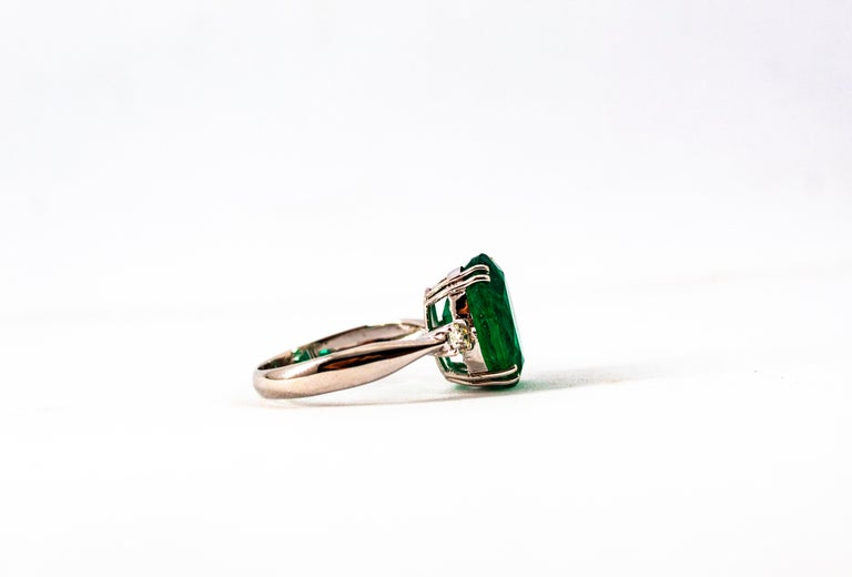 Art Deco Style 6.29 Carat Emerald 0.20 Carat Diamond White Gold Cocktail Ring For Sale 13