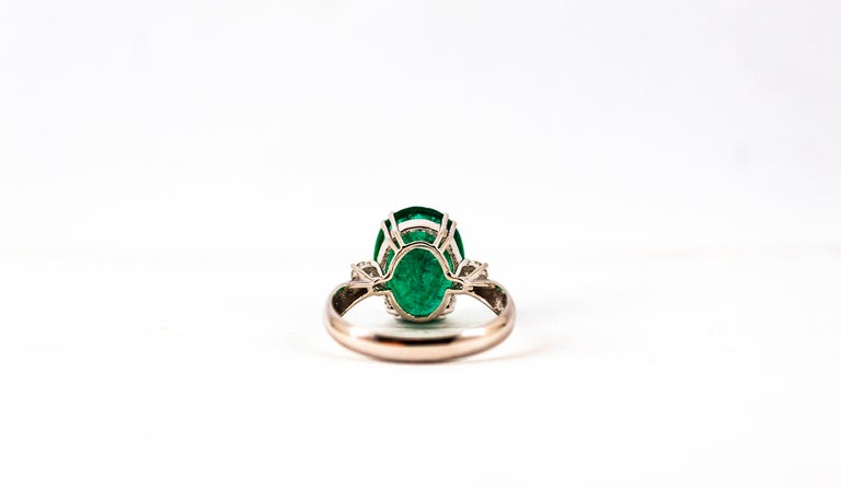 Art Deco Style 6.29 Carat Emerald 0.20 Carat Diamond White Gold Cocktail Ring For Sale 14