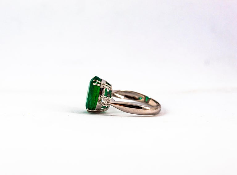 Art Deco Style 6.29 Carat Emerald 0.20 Carat Diamond White Gold Cocktail Ring For Sale 15