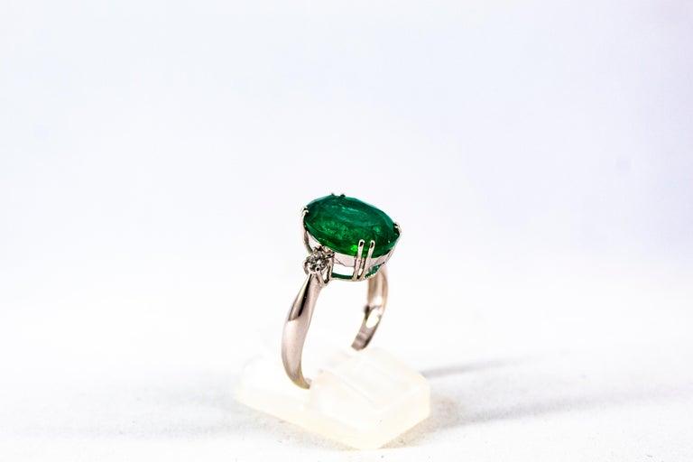 Women's or Men's Art Deco Style 6.29 Carat Emerald 0.20 Carat Diamond White Gold Cocktail Ring For Sale