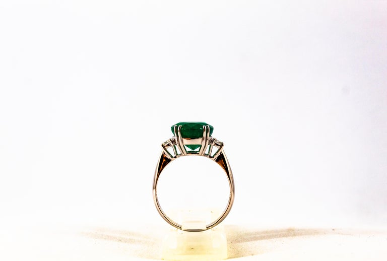 Art Deco Style 6.29 Carat Emerald 0.20 Carat Diamond White Gold Cocktail Ring For Sale 3