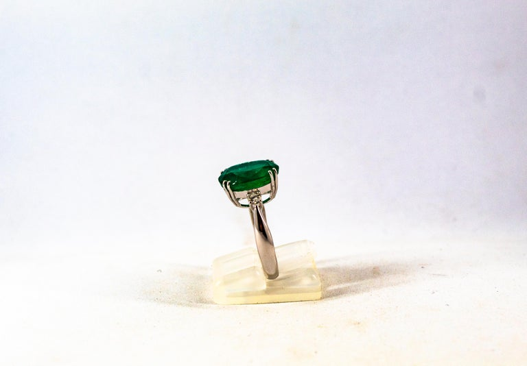 Art Deco Style 6.29 Carat Emerald 0.20 Carat Diamond White Gold Cocktail Ring For Sale 4