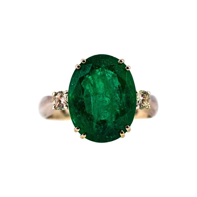 Art Deco Style 6.29 Carat Emerald 0.20 Carat Diamond White Gold Cocktail Ring For Sale